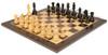 "German Knight Staunton Chess Set Ebonized and Boxwood Pieces 3.25"" King with Macassar Ebony Chess Board View 2"