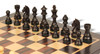 "German Knight Staunton Chess Set Ebonized and Boxwood Pieces 3.25"" King with Macassar Ebony Chess Board Ebonized Zoom"