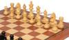 "German Knight Staunton Chess Set Ebonized and Boxwood Pieces 3.25"" King with Mahogany Chess Board Boxwood Zoom"