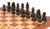 "German Knight Staunton Chess Set Ebonized and Boxwood Pieces 3.25"" King with Mahogany Chess Board Ebonized Zoom"