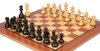 "German Knight Staunton Chess Set Ebonized and Boxwood Pieces 3.25"" King with Mahogany Chess Board Zoom"