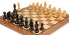 "German Knight Staunton Chess Set Ebonized and Boxwood Pieces 3.25"" King with Walnut Chess Board Zoom 1"