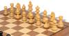 "German Knight Staunton Chess Set Ebonized and Boxwood Pieces 3.25"" King with Walnut Chess Board Boxwood Zoom"