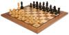 "German Knight Staunton Chess Set Ebonized and Boxwood Pieces 3.25"" King with Walnut Chess Board View 2"