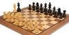 "German Knight Staunton Chess Set Ebonized and Boxwood Pieces 3.25"" King with Walnut Chess Board Zoom 2"