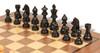 "German Knight Staunton Chess Set Ebonized and Boxwood Pieces 3.25"" King with Walnut Chess Board Ebonized Zoom"