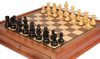 "German Knight Staunton Chess Set Ebonized & Boxwood Pieces with Walnut Chess Case - 3.25"" King"