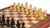 "German Knight Staunton Chess Set Ebonized & Boxwood Pieces with Walnut Chess Case - 3.75"" King"