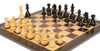 "German Knight Staunton Chess Set Ebonized and Boxwood Pieces 3.75"" King with Macassar Ebony Chess Board Zoom 2"