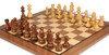 """German Knight Staunton Chess Set Golden Rosewood & Boxwood Pieces with Classic Walnut Chess Board - 3.25"""" King"""