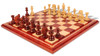 "Wellington Staunton Chess Set in African Padauk & Boxwood with Maple Solid Wood Chess Board - 4.25"" King"