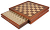 "Deluxe Two Drawer Walnut Chess Case  with 1.625"" Squares"