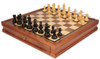 "Fierce Knight Staunton Chess Set Ebonized and Boxwood Pieces with Walnut Chess Case 3.5"" King"