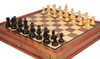 "Fierce Knight Staunton Chess Set Ebonized and Boxwood Pieces with Walnut Chess Case 3.5"" King - Zoom"