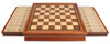 "Walnut Chess Case with Drawers Open for Fierce Knight Staunton Chess Set Ebonized and Boxwood Pieces 3.5"" King"