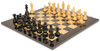 "French Lardy Staunton Chess Set Ebonized  & Boxwood Pieces with Black & Ash Burl Chess Board - 2.75"" King"