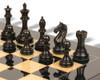 "Fierce Knight Staunton Chess Set Ebonized & Boxwood Pieces with Black & Ash burl Chess Board - 3.5"" King"