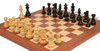 "French Lardy Staunton Chess Set in Ebonized Boxwood & Boxwood with Mahogany & Maple Deluxe Chess Board - 2.75"" King"
