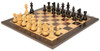 "French Lardy Staunton Chess Set Ebonized and Boxwood Pieces with Classic Macassar Ebony Chess Board 3.25"" King - View 2"