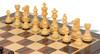 "French Lardy Staunton Chess Set Ebonized and Boxwood Pieces with Classic Macassar Ebony Chess Board 3.75"" King - Boxwood Zoom"
