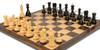 "Yugoslavia Staunton Chess Set Ebonized & Boxwood Pieces with Classic Macassar Ebony Chess Board - 3.25"" King"