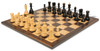 "Yugoslavia Staunton Chess Set Ebonized & Boxwood Pieces with Classic Macassar Ebony Chess Board - 3.875"" King"