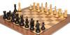 "Yugoslavia Staunton Chess Set Ebonized & Boxwood Pieces with Classic Walnut Chess Board - 3.25"" King"