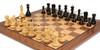 "Yugoslavia Staunton Chess Set Ebonized & Boxwood Pieces with Classic Walnut Chess Board - 3.875"" King"