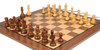 """Deluxe Old Club Staunton Chess Set Golden Rosewood & Boxwood Pieces with Classic Walnut Chess Board - 3.75"""" King"""