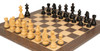 "German Knight Staunton Chess Set Ebonized & Boxwood Pieces with Tiger Ebony Deluxe Chess Board- 3.25"" King"