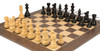 "French Lardy Staunton Chess Set Ebonized & Boxwood Pieces with Tiger Ebony Deluxe Chess Board - 3.75"" King"