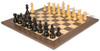 "French Lardy Staunton Chess Set Ebonized & Boxwood Pieces with Tiger Ebony Deluxe Chess Board - 3.25"" King"