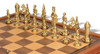 Camelot Theme Chess Set Brass & Nickel Pieces with Walnut Chess Case