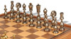 Large Arabesque Contemporary Staunton Metal Chess Set with Walnut Chess Case