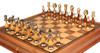 Large Contemporary Staunton Solid Brass & Wood Chess Set with Walnut Chess Case