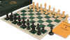ProTourney Series Deluxe Bag Chess Set Package Black & Camel Pieces - Green
