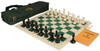 Professional Deluxe Bag Chess Set Package Black & Ivory Pieces - Green