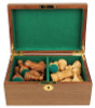 Walnut Chess Piece Box With Green Baize Lining - Large