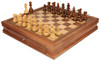 "French Lardy Staunton Chess Set Acacia and Boxwood Pieces with Walnut Chess Case 3.25"" King - View 2"