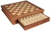 "Walnut Chess Case for French Lardy Staunton Chess Set Acacia and Boxwood Pieces 3.25"" King"