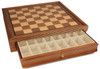 "Deluxe Old Club Staunton Chess Set Acacia & Boxwood Pieces with Walnut Chess Case - 3.25"" King"