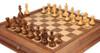 "Fierce Knight Staunton Chess Set Acacia & Boxwood Pieces with Walnut Chess Case - 3"" King"