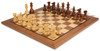 "French Lardy Staunton Chess Set Acacia & Boxwood Pieces with Classic Walnut Chess Board - 2.75"" King"