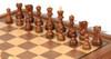 """Yugoslavia Staunton Chess Set Acacia & Boxwood Pieces with Walnut Chess Case - 3.25"""" King"""