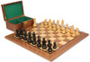 """German Knight Staunton Chess Set Ebonized and Natural Boxwood Pieces with Walnut Chess Board and Box 3.75"""" King"""