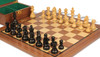 """German Knight Staunton Chess Set Ebonized and Natural Boxwood Pieces with Walnut Chess Board and Box 3.75"""" King - Closer"""