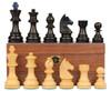 "German Knight Staunton Chess Set Ebonized and Natural Boxwood Pieces on Walnut Chess Box 3.75"" King"