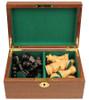 "German Knight Staunton Chess Set Ebonized and Natural Boxwood Pieces in Walnut Chess Box 3.75"" King"