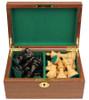 "French Lardy Staunton Chess Set Ebonized and Boxwood Pieces in Walnut Chess Box 2.75"" King"