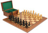 "French Lardy Staunton Chess Set Ebonized and Boxwood Pieces with Walnut Chess Board and Box 3.75"" King"